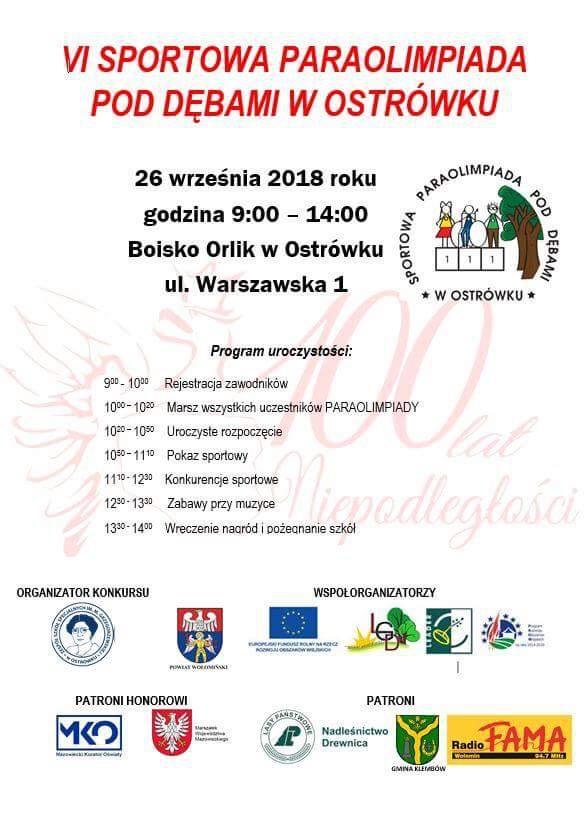 Zaproszenie VI SPORTOWA PARAOLIMPIADA POD DĘBAMI W OSTRÓWKU