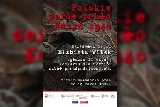 """Konkurs literacko-plastyczny """"Polskie serce pękło. Katyń 1940"""""""